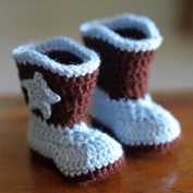 Cowboy Baby Bootie Boots Handmade Crochet Baby Boots Toddler Shoes Blue with Apricot 9cm