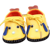 ELee Baby Cartoon Lace Up PU Leather Non Slip Rubber Sole Sneakers Toddler Crib Shoes