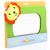 Enimenie - Leo the Lion Baby Car Mirror Made By Moms for Moms with Crystal Clear View, Shatter-Proof Glass and Easy Rear Backseat View