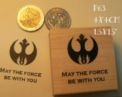 May the force be with you, Star Wars logo rubber stamp