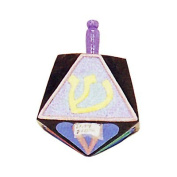 Clay Hanukkah Dreidel - Purple With Pastel Colours Shapes and Lettering Design