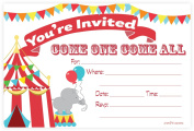 Carnival Circus Invitations - Birthday Party or Baby Shower - Fill In Style (20 Count) With Envelopes