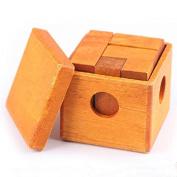 KINGOU Wooden Box-packed Burr Puzzle 3D Tetris Jigsaw Toy Brain Teaser Magic Cube