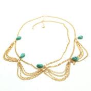 Sexy Lady's Boho Style Green Stone Tassels Headband Link Chain Headpiece