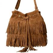 Minetom Fringe Tassel Faux Suede Shoulder Messenger Bag Women Handbag Cross-body Shoulder Bag