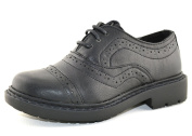 BOYS KIDS BLACK FLAT LACE UP SMART VINTAGE INFANT SCHOOL BROGUES PUMPS SHOES SIZE 10-2