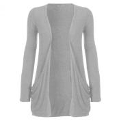Womens Drop Pocket Boyfriend Open Cardigan Top Ladies Plus SizeUK 16 18 20 22 24 (UK 16-18-20