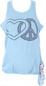 Maternity Sleeveless Cotton Tank Top - Peace and Heart Symbols Printed above Bump Area from Silly Souls