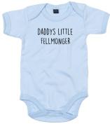 Fellmonger Baby Body Suit Daddys little Newborn Babygrow Blue with Black Print 12-18 months