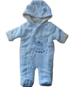 6-9 months - Baby Boys Cute Soft and Furry Blue Little Tiger Hooded Winter Pramsuit