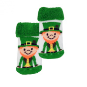 White Newborn Bootie Socks with Leprechaun Print