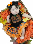 Halloween Dress Rhinestone Pumpkin Black Bodysuit Web Tutu Baby Jumpsuit Nb-18m