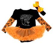 Halloween Baby Dress Boo Ghost Black Bodysuit Orange Tutu Pumpkin Sleeves Nb-18m