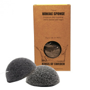 Kings of Sweden Natural Konjac Sponge / Economical Pack of 2 Facial Cleaning Sponge for impurities and oily skin - 100% Natural, Vegan, Sustainable Fully Biodegradable.