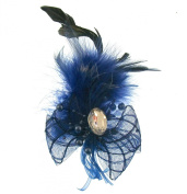 Navy blue fascinator with centre gem on clip and brooch pin