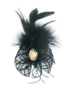 Black fascinator with centre gem on both hair clip and brooch pin for dual purpose