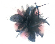 Navy Blue and baby pink fascinator on a clip and brooch pin