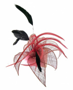 Dusky Rose Pink and black feather fascinator hair clip for special occasions