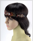 Handmade Feather Rhinestone Headpiece, Indian Feather Headband