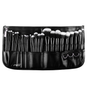 MSQ 29pcs Makeup Brushes Set Soft Synthetic Hair Black Wood Handle With PU Leather Belt Bag