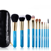 MSQ Professional 10pcs Blue Goat Hair Makeup Brush Set With Blue Costmetic Case