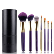 MSQ 7pcs Makeup Brushes Set Soft Synthetic Hair Perple Wood Handle With Black PU Leather Cylinder