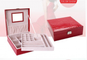 Woman Lady Girls Actress Portable Travel Jewellery Box Earring/Ring/Necklace/Watch Etc Cosmetic Storage Container Box Case As Chirstmas/Birthday present- Red Colour