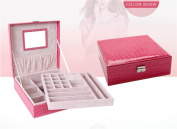 Woman Lady Girls Actress Portable Travel Jewellery Box Earring/Ring/Necklace/Watch Etc Cosmetic Storage Container Box Case As Chirstmas/Birthday present- Rose Red Colour