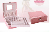 Woman Lady Girls Actress Portable Travel Jewellery Box Earring/Ring/Necklace/Watch Etc Cosmetic Storage Container Box Case As Chirstmas/Birthday present- Pink Colour