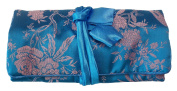 Blue/ Pale Pink Embroidered Silk Floral Print Make Up Bag/ Wrap /Jewellery Roll