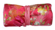 Bright Pink Silk Floral Print Make Up Bag/ Wrap /Jewellery Roll