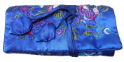 Royal Blue Embroidered Silk Floral Print Make Up Bag/ Wrap /Jewellery Roll