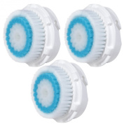 3x E-Cron® Brush Heads. Replacement for Clarisonic Deep Pore Facial Cleansing. Compatible with Mia 1, 2, 3(Aria), SMART Profile, Alpha Fit, Plus, Sonic Radiance.