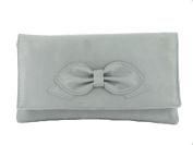 Gorgeous Faux Suede Bow Clutch/Shoulder Bag Wedding Prom Bag Medium Size