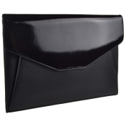 Ladies LEATHER Large ENVELOPE Clutch BAG by Golunski GIFT Classic Patent