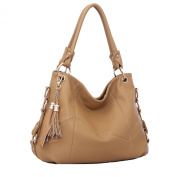 Win8Fong Women's Cowhide Tassel Shoulder Bag Vintage Handbag