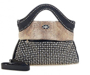 Oath_song Women's Crocodile Leather 2-Toned Studded Dress Shape Tote Bag