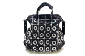 Oath_song Women's Metallic Leather Plaid Donut Rhinestone Stud Satchel Handbag