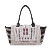 Oath_song Women's Crocodile Leather Rivet Skull Studded Tote Satchel Hanbag