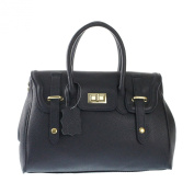 CTM Women Handbag in genuine italian leather made in Italy, handles and shoulder strap 34x23x13 Cm
