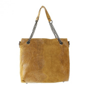 CTM Women's handbag Animalier print, italian genuine leather made in Italy with handles and shoulder strap 34x32x14 cm