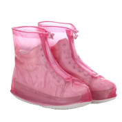 Fahsion Reusable Pink M Waterproof Slip-resistant Thicken Sole Reusable Zippered Shoes Boots Cover For Women Girls