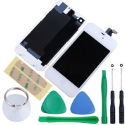 FixCracked Replacement Full Set Front LCD Display & Touch Screen Digitizer Assembly With Home Button + Back Cover Housing + 8pcs Repair Opening Tools Kit Compatible For AT & T iPhone 4S GSM - White