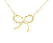 Gold Tone Braided Ribbon Bow Design Short Necklace 46cm