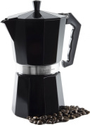 Andrew James 9 Cup Black Espresso Coffee Percolator In A Traditional Italian Style Design For Stove Tops - Includes Free Replacement Gasket