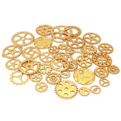 LolliBeads (TM) Antiqued Golden Plated Skeleton Steampunk Watch Gear Cog Wheel Sets