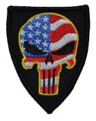 USA Flag-Filled Punisher Skull 3x2.5 Shield Military Patch / Morale Patch - Multiple Colours