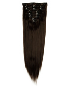 Local Seller 60cm Long Straight 8 Pieces Full Head Clip in on Hair Extensions Dark Brown