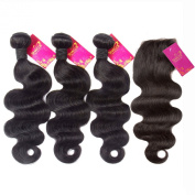 Shacos Grade 7a Brazilian Body Wave Virgin Human Hair Extensions 1pc Lace Closure with 3pcs Bundles Natural Black Hair Extension Weft