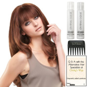 easiFringe Remy Human Hair, Christy's Wigs Q & A Booklet, Argan Luxury Shampoo & Conditioner & Wide Tooth Comb -Colour